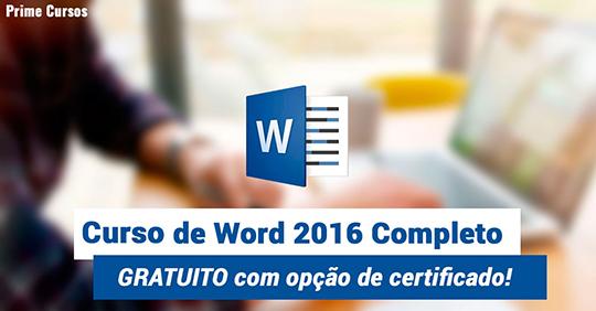 Curso grátis de Word 2016 Completo