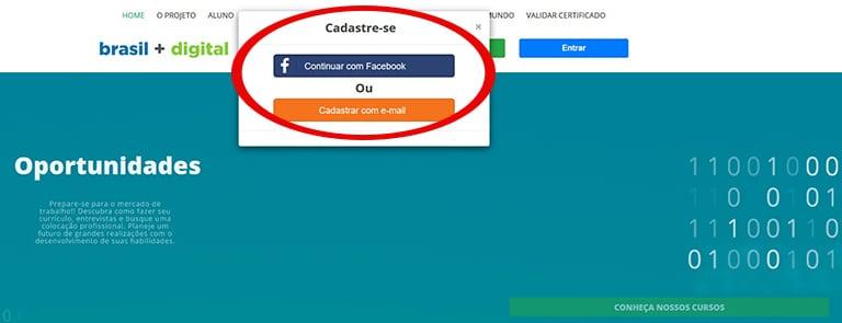 Cadastre-se através do Facebook ou crie uma conta com seu e-mail!