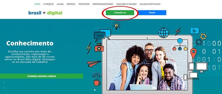 """Clique no botão """"CADASTRE-SE"""" para criar a sua conta no site e começar a estudar!"""