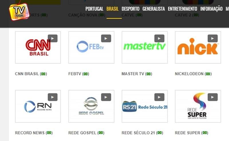 TV Tuga é um site bem organizado